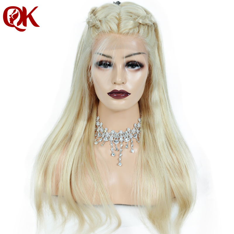QueenKing hair 150% Density European Human Hair Full Lace Wig Blonde 613 Silky Straight Natural Hairline Remy Hair