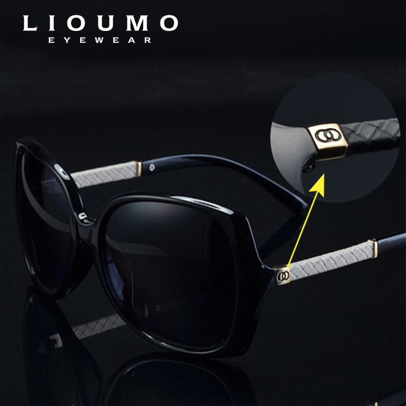 LIOUMO Luxury Brand Women Polarized UV400 Solglasögon För Kvinnor Vintage Glass Female Original Famous Sun Glasses med logo C 9110