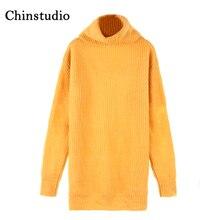 Здесь можно купить  Chinstudio 2018 Women Wool Orange Sweater Scratched Turtleneck Knitted Long Sleeve Pullover Thick Orange Warm Knitting Sweater