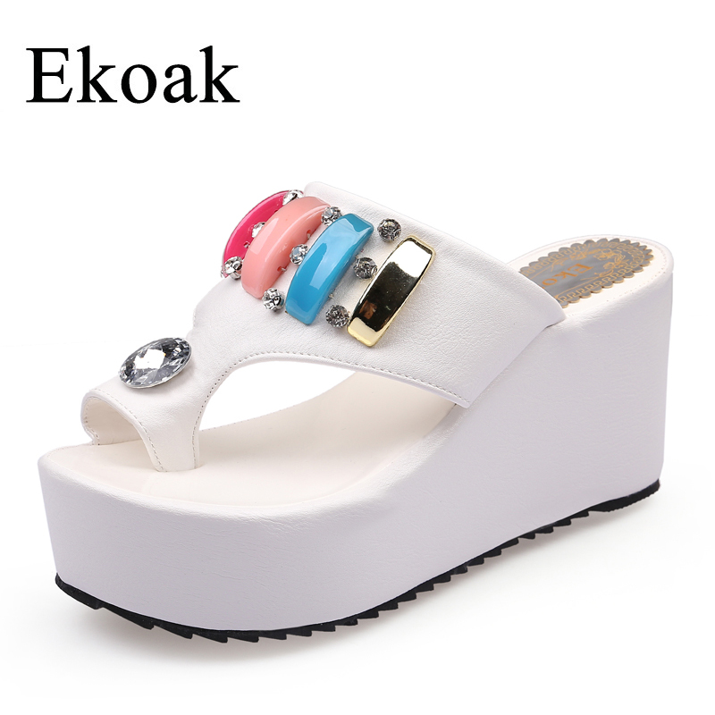 Ekoak New 2017 Summer Women Slides Fashion Super High Heels Slippers Wedges Platform Shoes Woman Sexy Crystal Beach Sandals