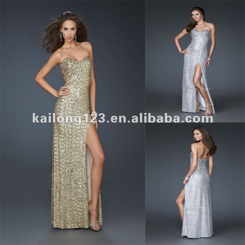 72dfdb68f9d42 Sexy Sweetheart Fitted Floor-length Side Front Slit Silver Gold Sequins  Prom Dress