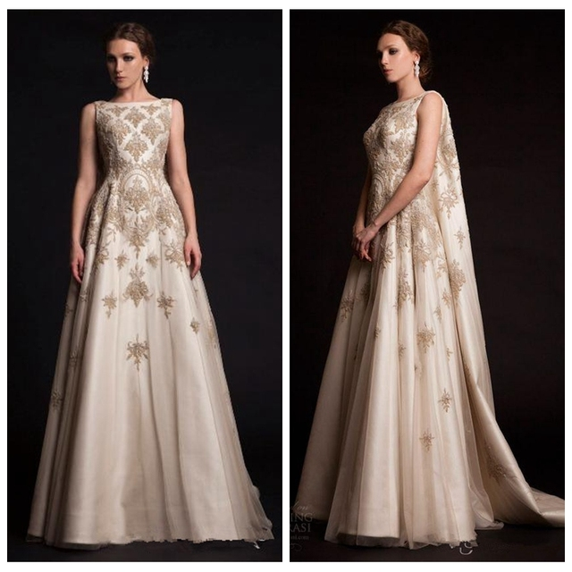 cbb1eed3647 2017 New Arabic Middle East Evening Dresses with Cloak Cape Gold Lace  Appliques Krikor Jabotian Special Occasion Party Gown