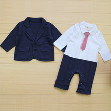 New Baby Boys Romper + Jacket 2 pieces Clothing Sets Children Kid Autumn Outdoor Casual Gentleman Suit Set christmas gift ASL091