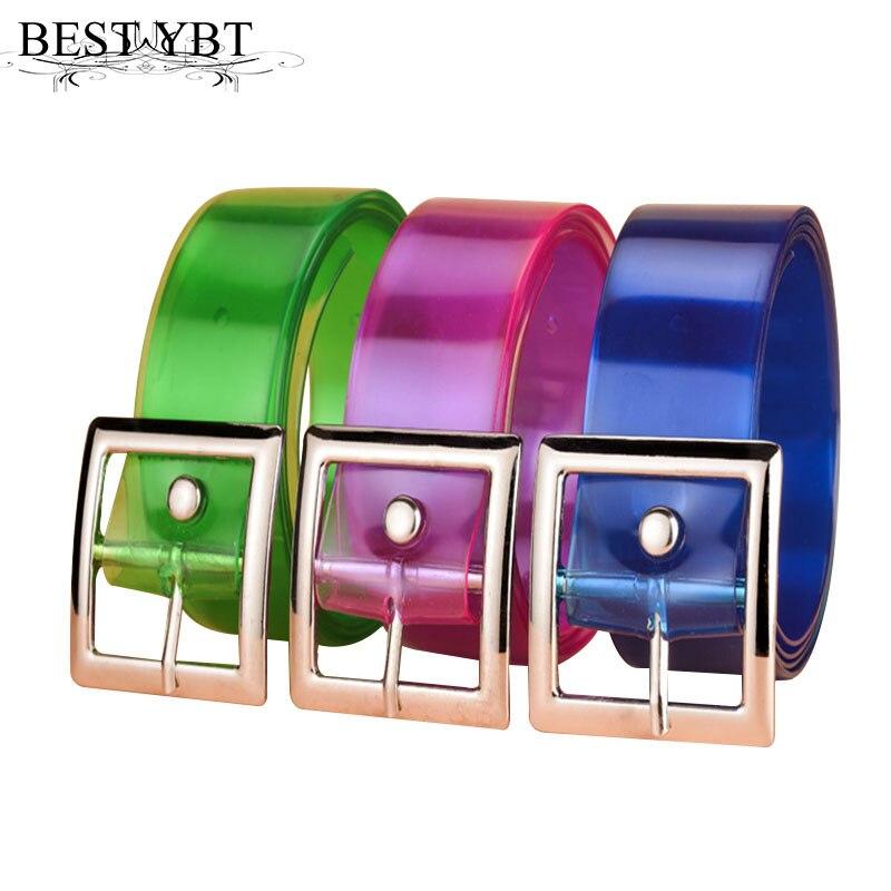 Best YBT Women Plastic Belt Alloy Pin Buckle Belt New Fashion Transparent Casual Simple High Quality Dress Decoration Women Belt