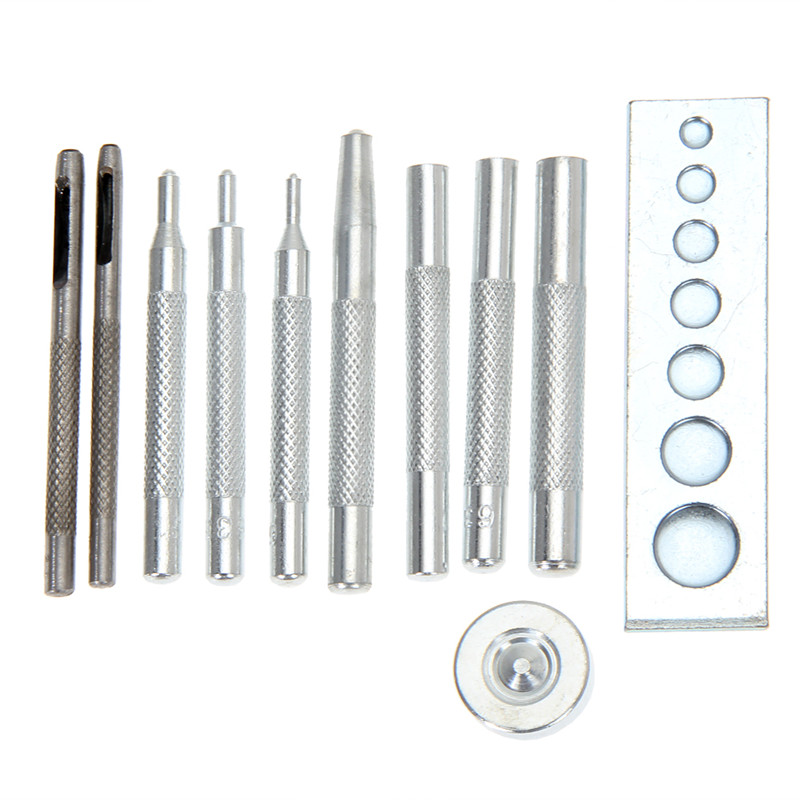 11pcs/set Metal DIY Leather Craft Tool Set Die Hole Punch Snap Fasteners Press Studs Rivet Setter Base Kit
