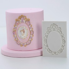 DIY silicona Marco de espejo clásico pastel Fondant molde pastel de boda cumpleaños decoración molde utensilios para hornear cocina herramientas FM1475