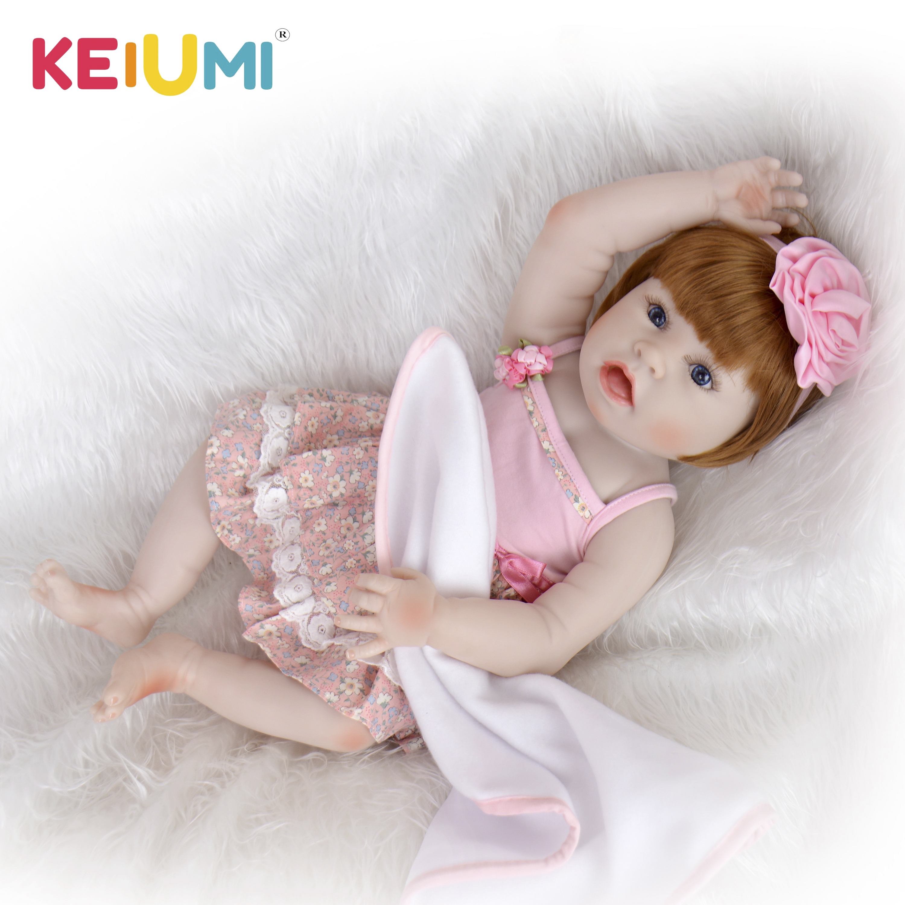 23 Inch Lifelike Reborn Doll Baby Toy Full Silicone Body Vinyl Open Mouth Realistic Baby Doll