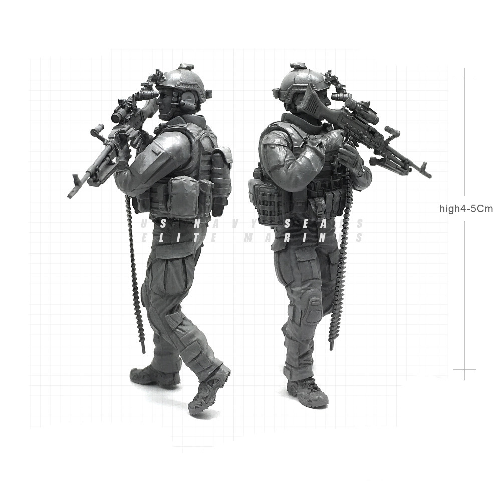 1/35 Modern U.S Navy Seals Elite Marines Alert Machine Gunner Military Soldier Resin Model Figure NAI-21