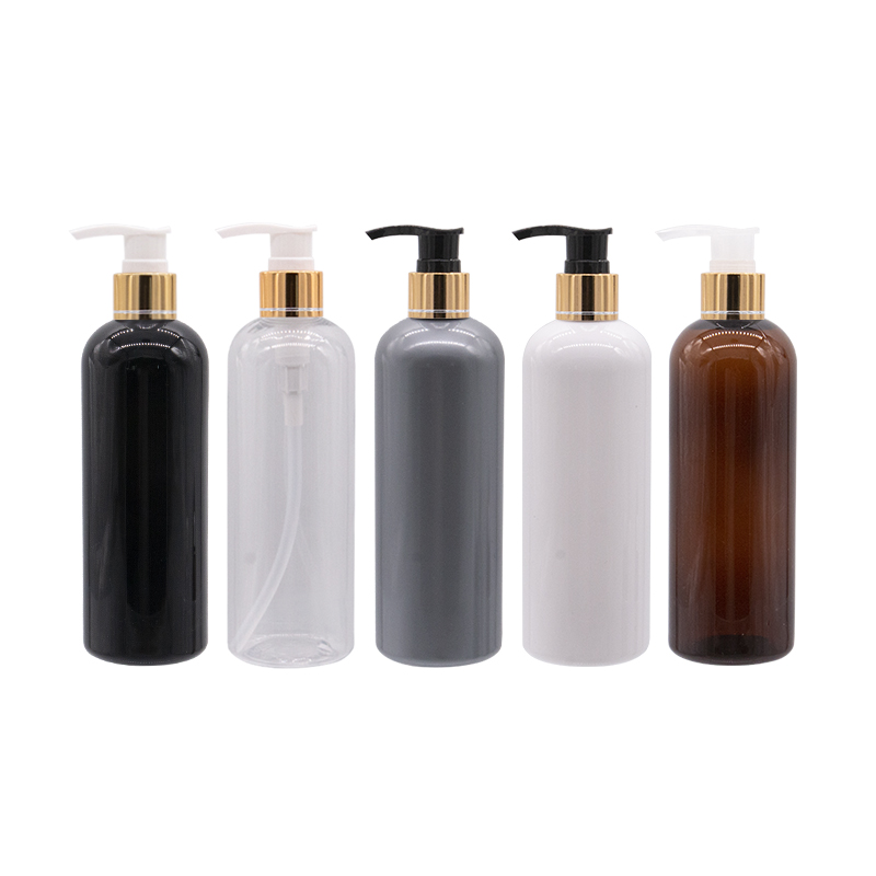 300ml Empty Plastic Lotion Bottles Liquid Soap Pump Container For Personal Care Lotion , Gold Aluminum Pump Cosmetic Containers