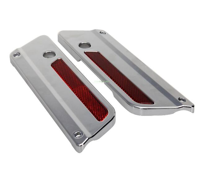 ФОТО Silver Saddlebag Latch Cover With RED Reflector Fit Harley Touring Electra Glide