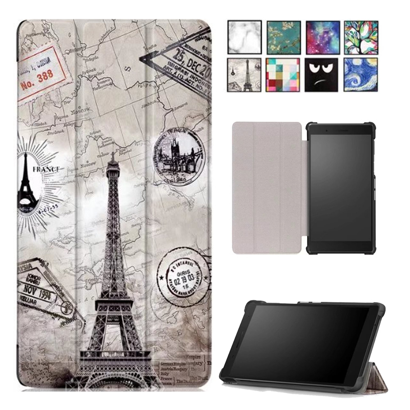 Folio magnetic cover case for Lenovo Tab4 Tab 4 7 inch TB-7504 TB-7504F TB-Lenovo Tab 7 TB-7504X(2017) slim printed case планшет lenovo tab 4 tb 7504x mt8735b 1 3 4c ram2gb rom16gb 7 ips 1280x720 3g 4g android 7 0 белы