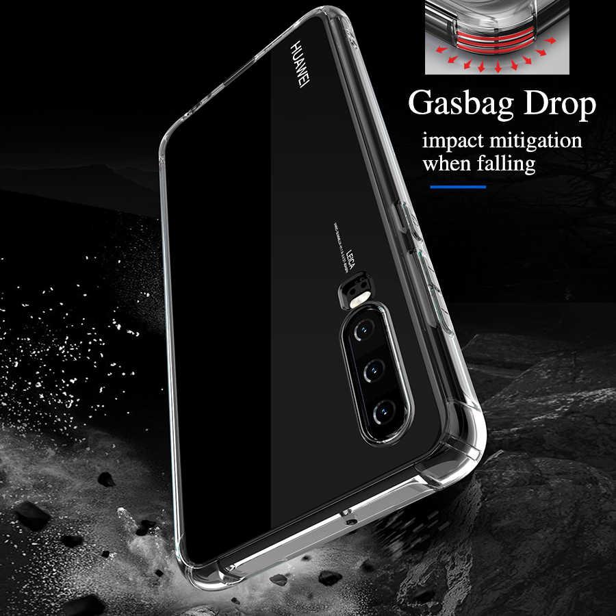Miękkie poduszki powietrznej silikonowe etui na Huawei P30 Mate 20 P20 Pro Lite Nova 3e 3i 4 Y6 Y7 Prime 2018 P inteligentny 2019 jasne TPU zderzak pokrywa