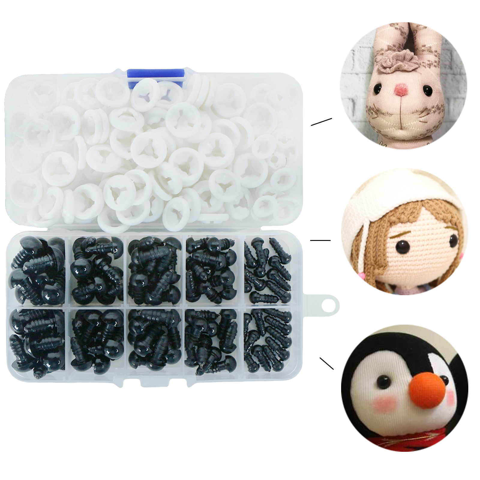 100pcs 6-12mm Black Plastic Crafts Safety Eyes For Bear Cloth Doll Soft Toy Animal Doll Amigurumi With Box DIY Accessories