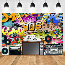90s Hip hop Backdrop Retro Graffiti Birthday Party Photography Background Fashion Shoes Radio Banner Decorate Props
