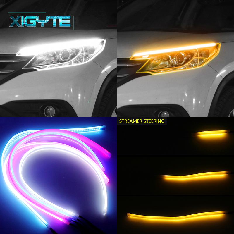 60cm Flexible LED DRL Running Light 12V Car Styling With Yellow Turn Signal Lamp