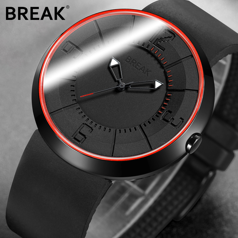 Break hommes femmes haut de gamme de mode sport analogique Quartz montre-bracelet créatif Unique Silicone bracelet montres cadeau pour hommes