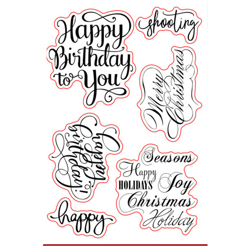 Merry Christmas Sayings Sentiments Birthday Greetings Rubber Clear ...