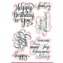 Merry Christmas Sayings Sentiments Birthday Greetings Rubber Clear Stamp/Seal Scrapbook/Photo Album DIY Card Making Clear Stamps(China)