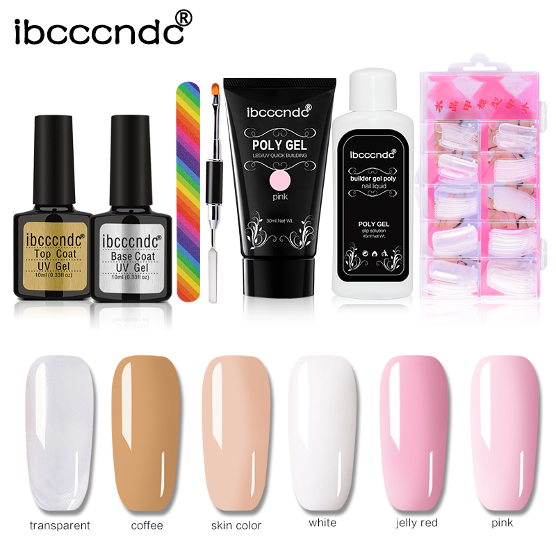 30ml UV LED Builder Gel Poly Gel Set Quick Building Finger Extension Camouflage Base Top Coat Nail Art Tips Brush Tools Kit mshare poly gel set nails polygel kit quick building builder extension gel camouflage uv led lacquer brush nail tips