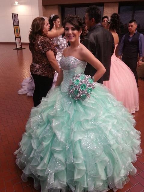 2017 Quinceanera Dresses Aqua Ball Gown Sweetheart Prom Gowns Cascading  Ruffles Girl Pageant Dresses Vestiods De 83c698ffe484