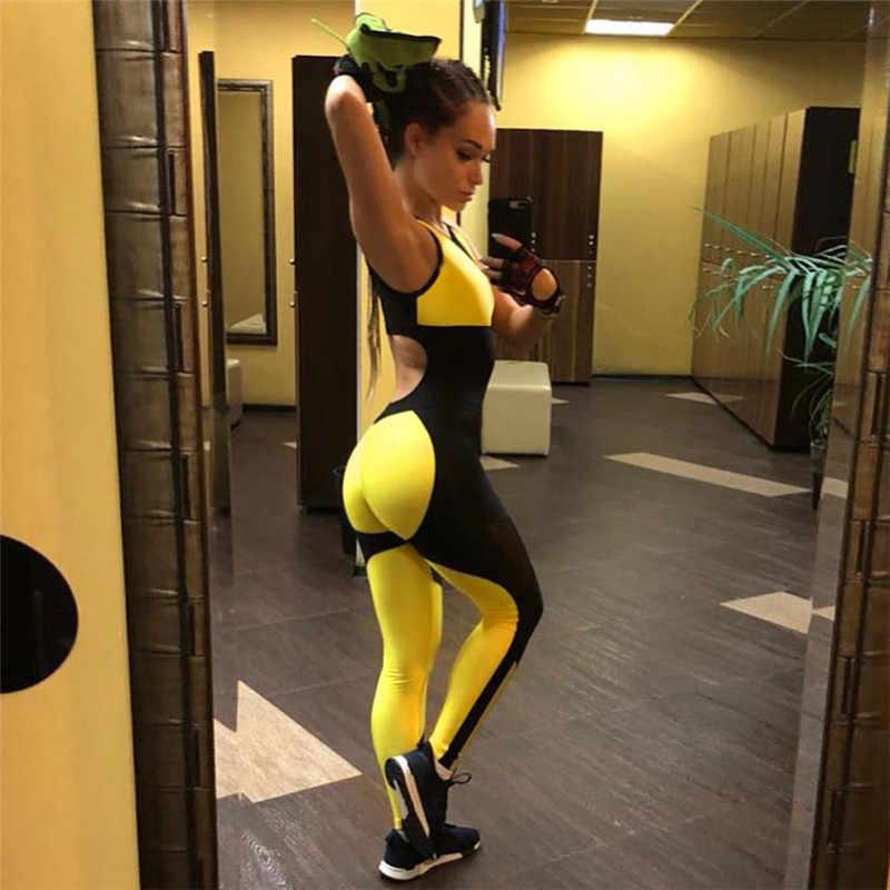 Sportkleding Voor Vrouwen Backless Een Peice Gym Set Mesh Geel Workout Jumpsuit Active Wear Sportkleding Voor Vrouwen Fitness Kleding