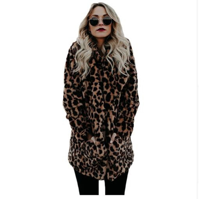 Fashion Women's Leopard Faux Fur Coat Turn-down Collar Warm Long Coats Female Winter Plus Size Casual Outerwear