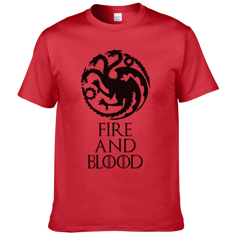 2017 New Listing Game of Thrones T-shirt fire and blood Tee House Targaryen shirt Fitness Casual Streetwear Cotton T shirt #254