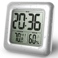 Baldr Waterproof Shower Digital Clock Timer Suction Cups Bathroom Kitchen Table Hygrometer Thermometer Large Dispaly Wall Clocks