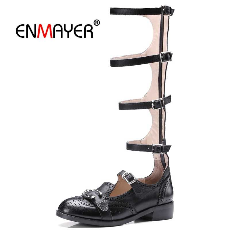 ENMAYER  Gladiator  Casual  Sandalias Mujer Genuine Leather Women Fashion  High Heel Sandals Size 34-39 LY395
