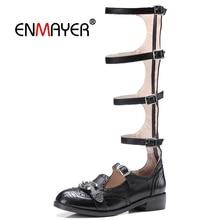 ENMAYER  Gladiator Casual Sandalias Mujer Genuine Leather Women Fashion High Heel Sandals Size 34-39 LY395