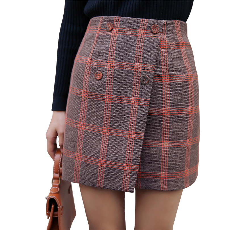 Winter font b Tartan b font Skirts Womens Plaid Skirts High Waist Coffee font b Tartan