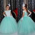2016 Mint Green Appliques Flower Girl Dresses Ball Gown Floor-Length Girls Pageant Dresses First Communion Dresses For Girls