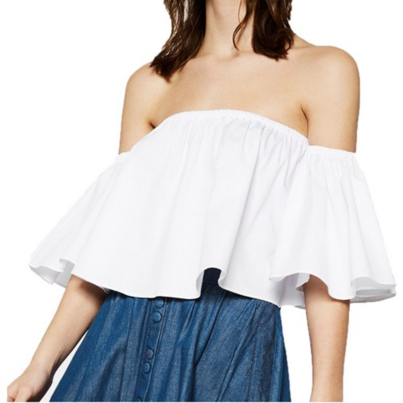 2016 Women's Smock Top T Shirt Charming Girls Off Shoulder Ruffles Flare Sleeve Ruffled Casual Short Tops Tee Shirts S/M/L