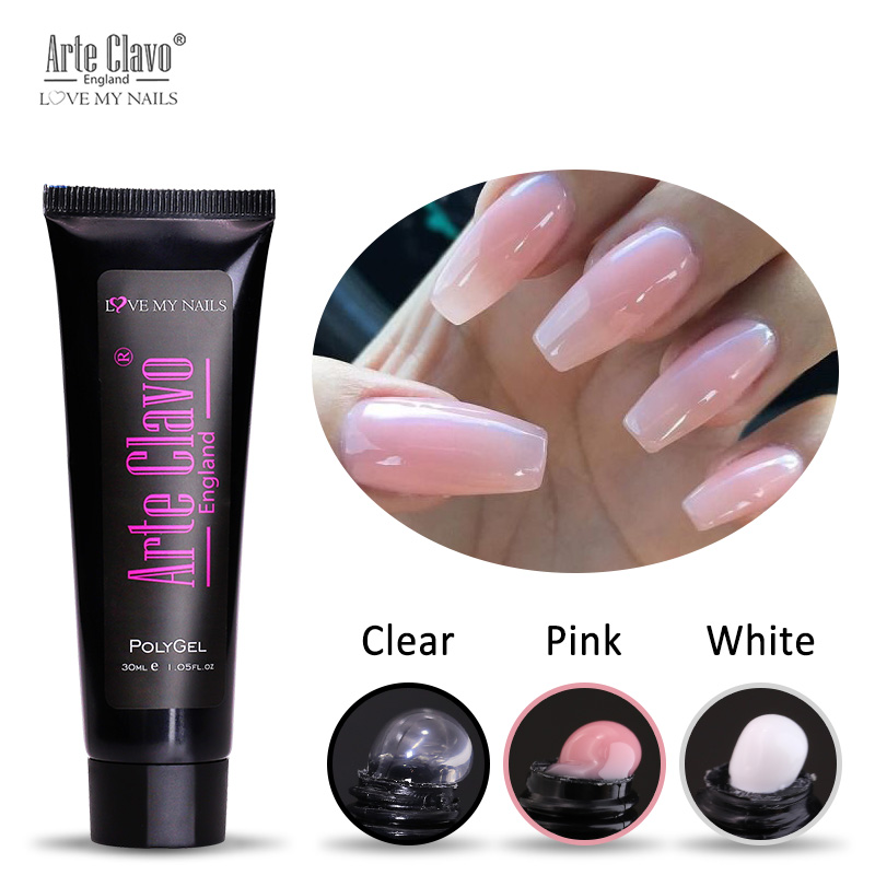White Gel Nail Polish: 30ml Poly Gel Pink White Clear Acrylic Builder Gel Nail