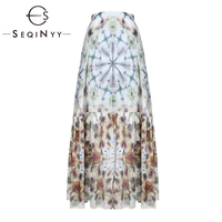 SEQINYY Cotton Skirt Summer Spring New Fashion Design 2019 High Quality Flowers Blue Green Ink Printed Long Skirt Women