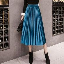 Осень-зима, Вельветовая юбка, высокая талия, обтягивающие, большие, Свинг, длинные, плиссированные юбки, металлик, 18 цветов, размера плюс, 3XL, миди, Saia