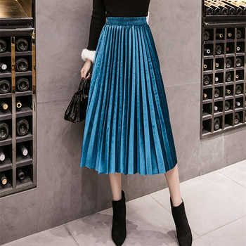 2018 Autumn Winter Velvet Skirt High Waisted Skinny Large Swing Long Pleated Skirts Metallic 18 Colors Plus Size 3XL Midi Saia - DISCOUNT ITEM  47% OFF All Category