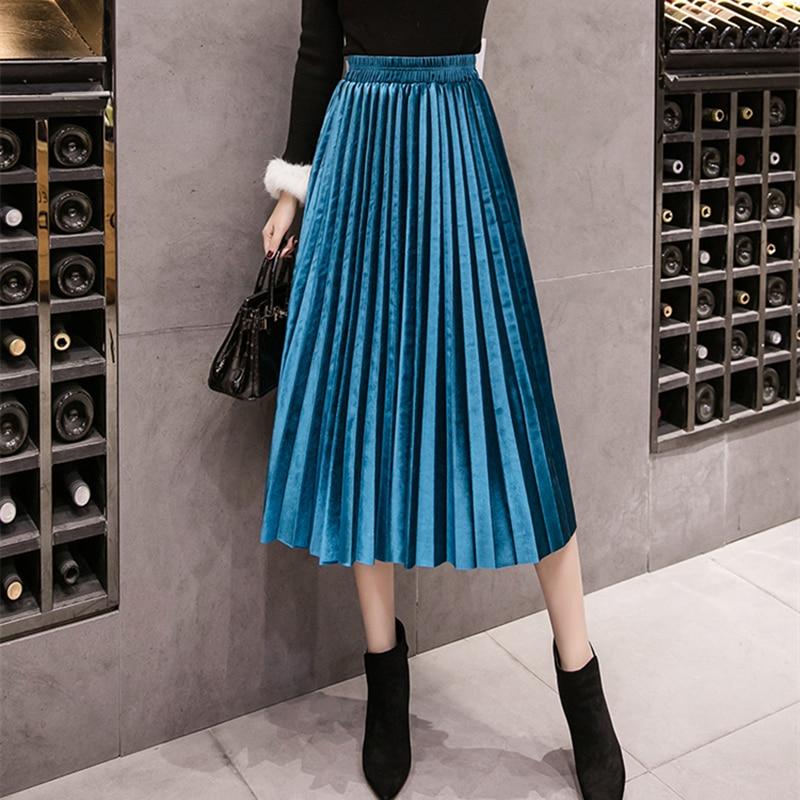 2018 Otoño de terciopelo de invierno falda de cintura alta Delgado amplia larga plisada faldas 18 colores más tamaño 3XL Midi saia
