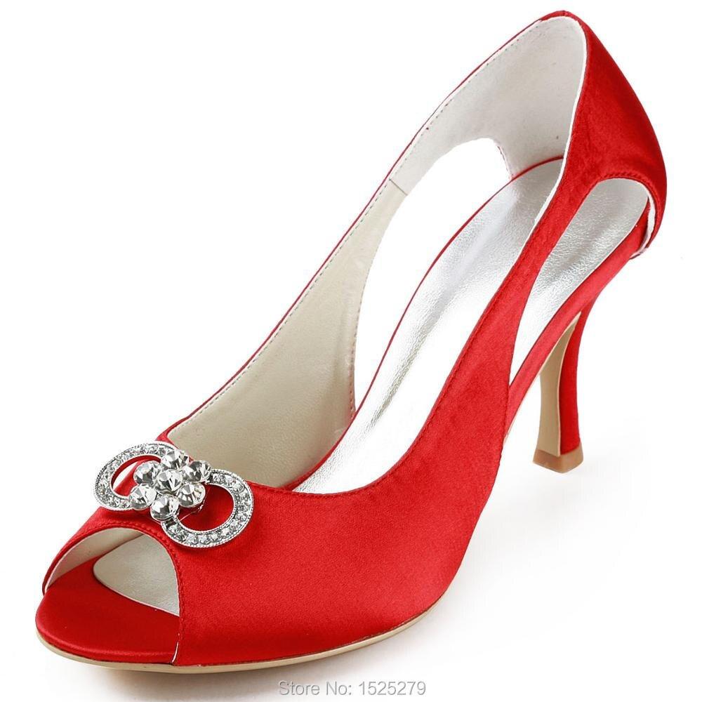 Ep11125 rojo mujeres peep toe partido Sandalias Diamantes con piedras  falsas satén noche Zapatos d0c6b255bf7