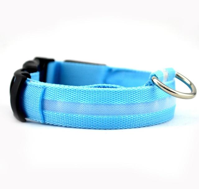 Nylon LED Pet dog Collar,Night Safety Flashing Glow In The Dark  1