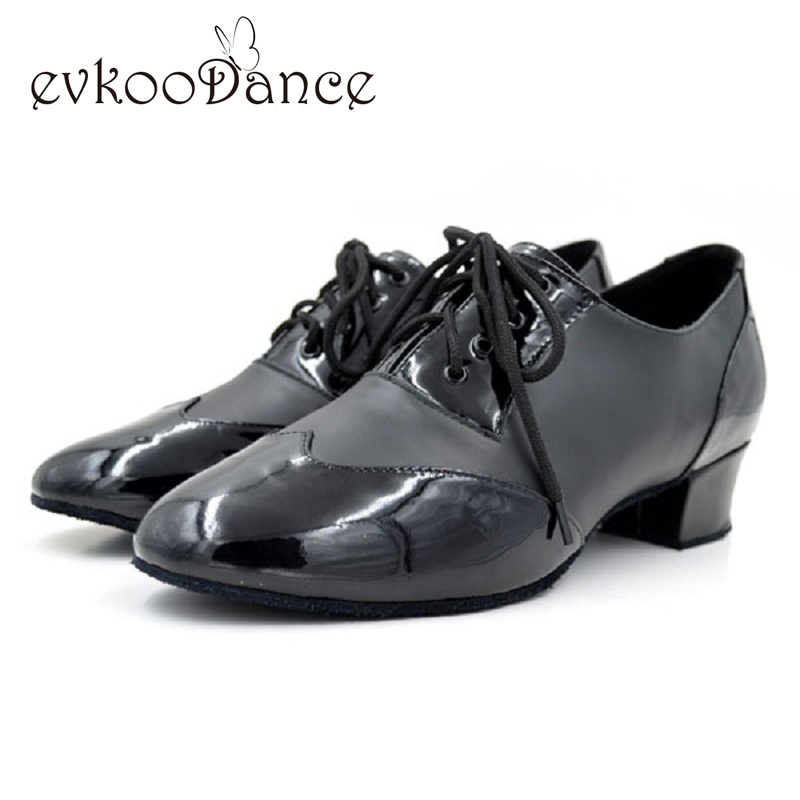 New Heel Height 4 cm Size US 4.5-13.5 Zpatos De Baile Black Patent Leather Professional Latin Salsa Dance Shoes Men ML002
