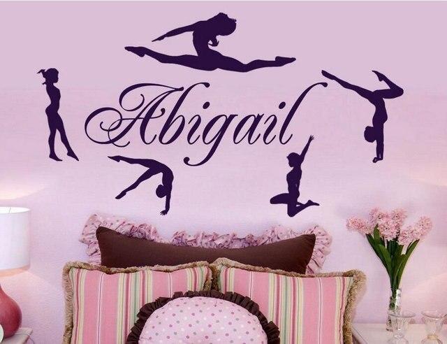 Customizable Name Rhythmic Gymnastics Athlete Vinyl Wall Decal Girl Dancer Room Home Decor Wallpaper Art Mural DZ15