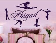 Konfigurowalny nazwa rytmiczne gimnastyka sportowiec Vinyl kalkomania ścienna dziewczyna tancerz pokój Home tapeta z dekorem mural artystyczny DZ15