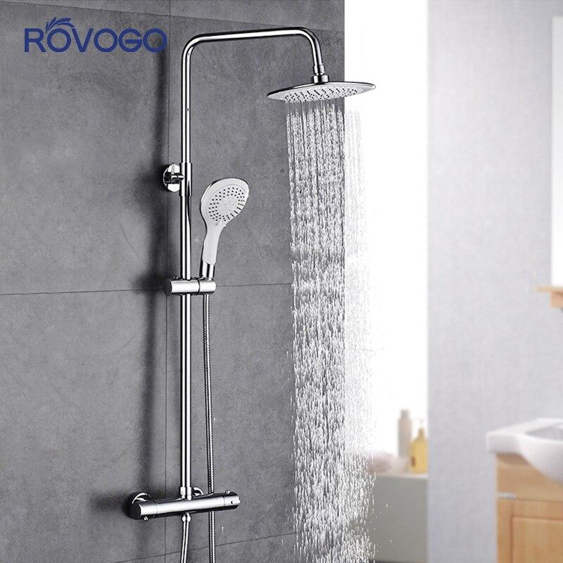 ROVOGO Bathroom Faucet Modern Shower Systems Intelligent Thermostatic Tropical Shower Set Rain Solar Panel Plastic Shower Head