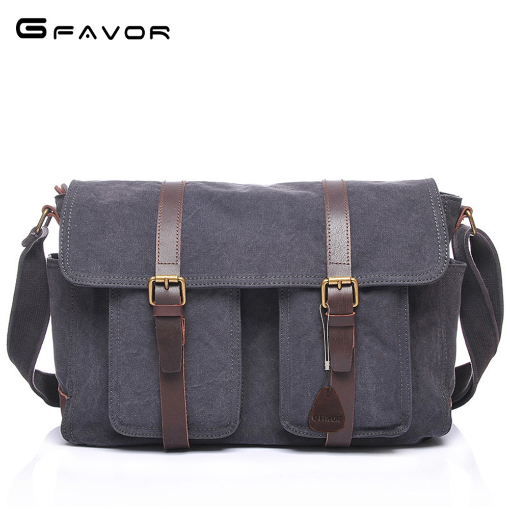 Messenger Bags Cover Crossbody Bag Canvas&Crazy Horse Leather Travel Bag Large Vintage Laptop Bags