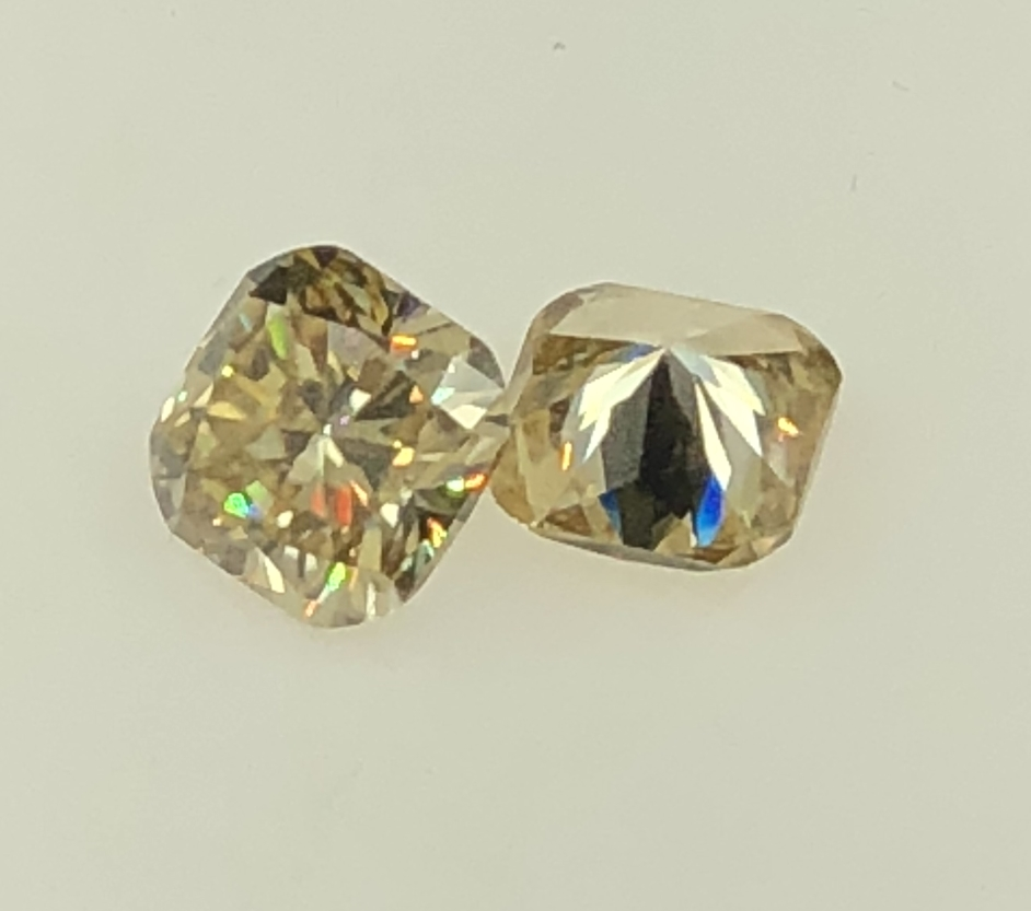 GIGAJEWE Yellow Color 9.1mm*9.1mm 3.3ct Cushion Cut Moissanite Beads Synthetic moissanite Sic Iingot Gem Stone For figures Ring