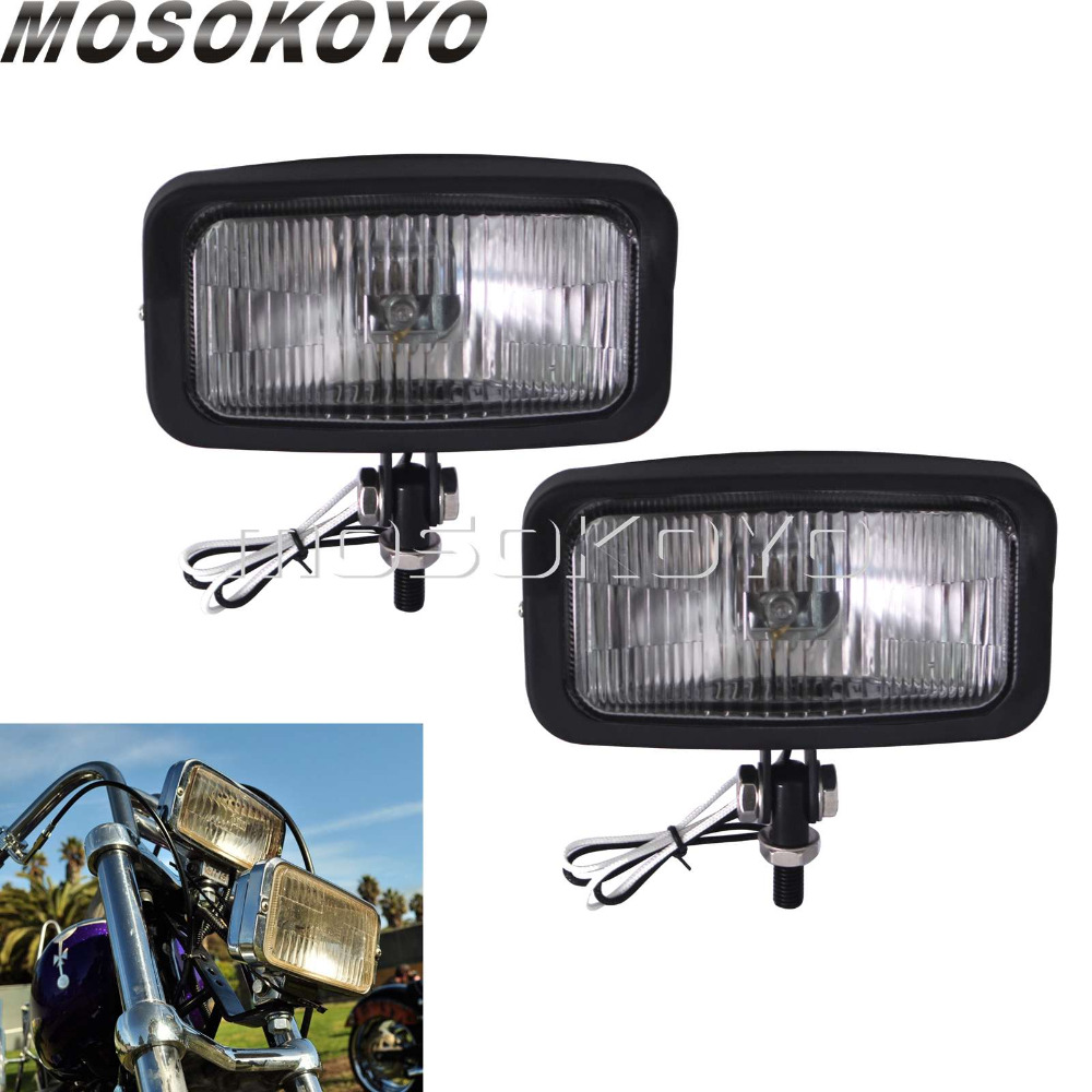 2pcs Vintage Square Headlight Motorcycle Rectangular Front Lamp 55W Head Light For Harley Sportster Cafe Racer Chopper Bobber
