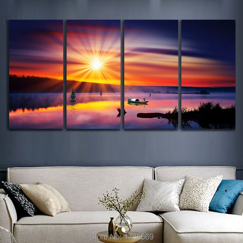 Hot Sale 4Pcs Ocean Canvas Art Printed Painting Oil