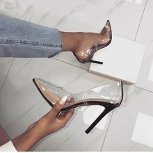 Perixire Women Pumps 2018 Transparent Super High Heels Sexy Pointed Toe Slip-on Wedding Party Shoes For Lady Thin Heels Pumps