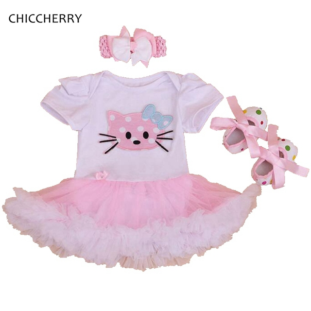 96b39e45c Fancy Hello Kitty Lace Petti Romper Dress Newborn Baby Girl Lace Tutu  Headband & Cribs Shoes